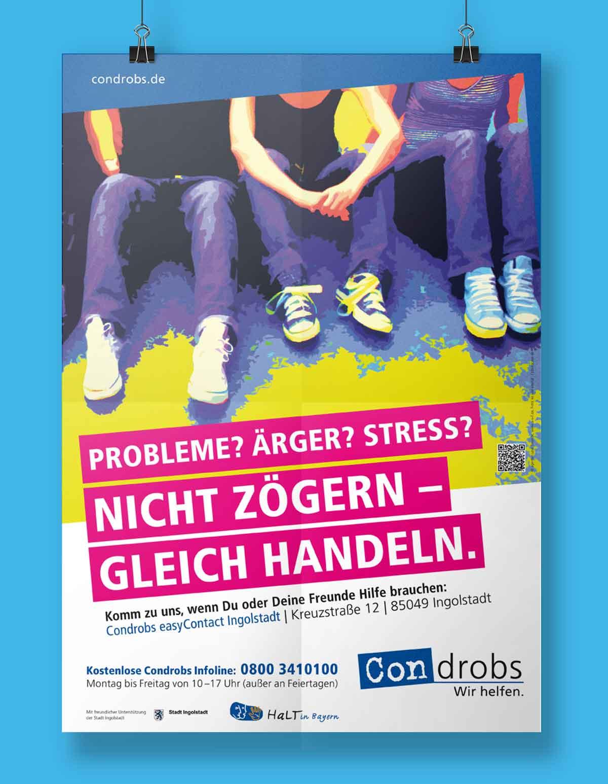 Nicht Zögern - Gleich Handeln - Präventionsplakat condrobs - Design c-c-design.de