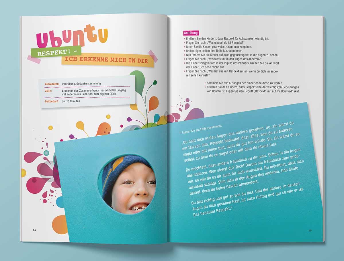 Innenansicht von Heft, Design Carmen Christ für SOS Kinderdörfer