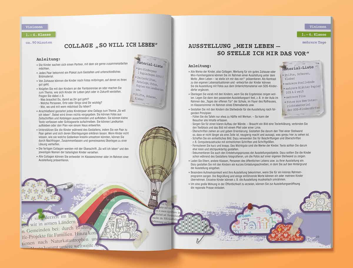 Heftdesign SOS Kinderdörfer, Innenansicht Visionen