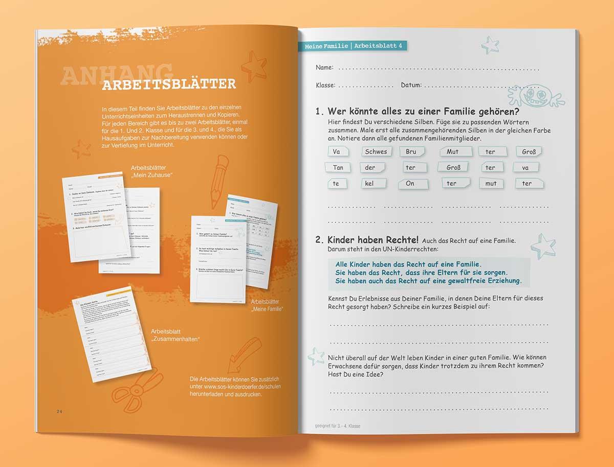 Heftdesign - Editorial Design - Grafik Design. Arbeitsblätter Innenansicht