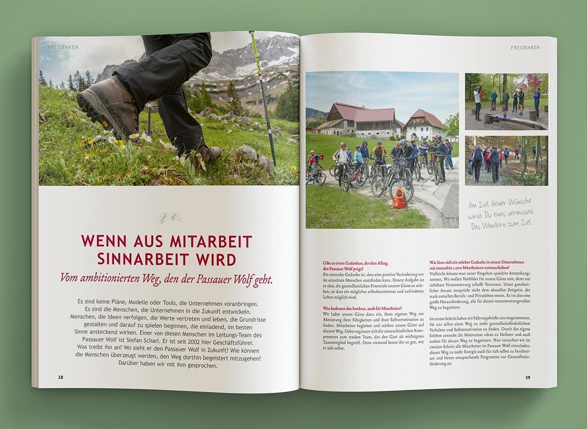 Aufgeklappte Ausgabe von Wolfsspur 9 - Design von c-c-design.de