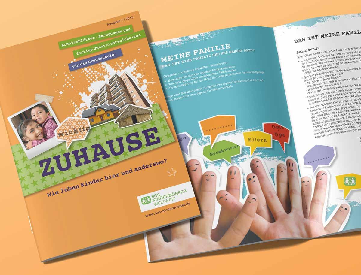 Titelbild und Innenansicht von SOS Kinderdörfer Heft