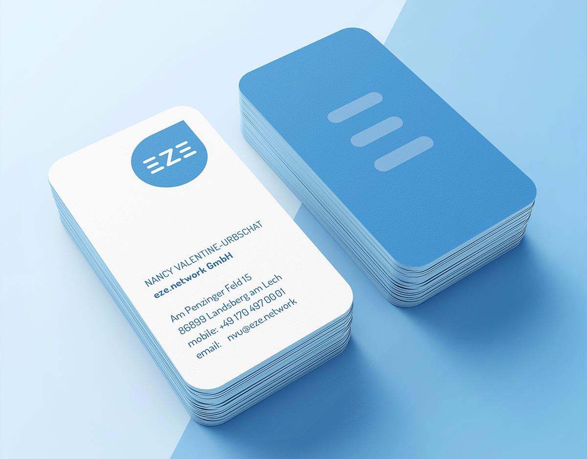 Visitenkarten von eze - Gestaltet von c-c-design.de