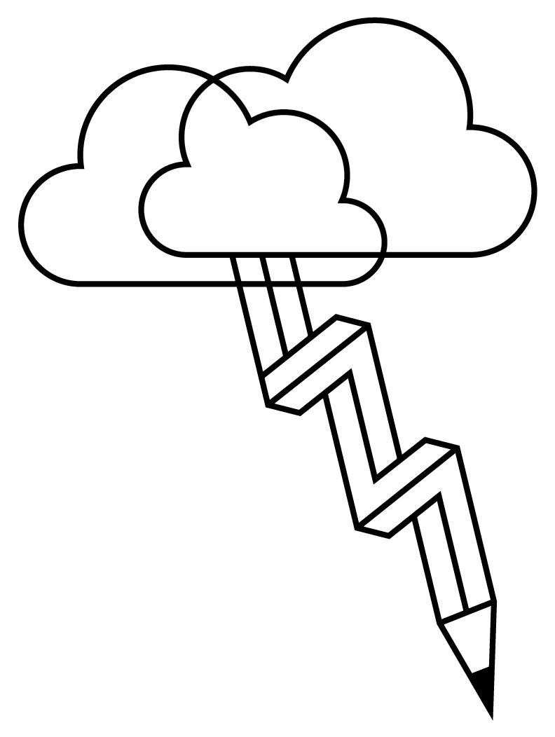 Stift kommt als Blitz aus Wolke - Icon