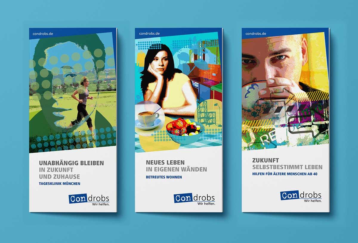 Drei Flyer von condrobs - Design von c-c-design.de